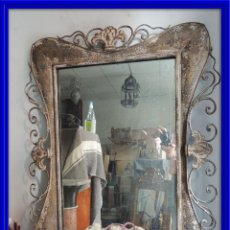 Antigüedades: DECORATIVO ESPEJO DE METAL EN TONOS GRISES. Lote 98522379
