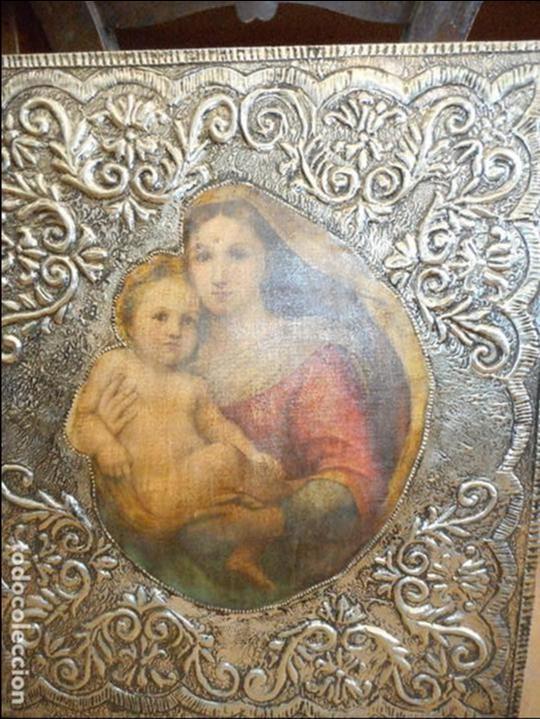 Antigüedades: Cuadro repujado de la Virgen y el Niño - Foto 5 - 98565995