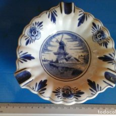 Antigüedades: DELFT CENICERO PORCELANA. Lote 98590183
