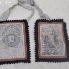 Antigüedades: PAREJA DE GRANDES ESCAPULARIOS - BENEDICTIO S. P. FRANCISCO - TELA - 14.7 X 11.5 CM APROX.. Lote 98602831