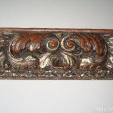 Antigüedades: FRAGMENTO DE MARCO TALLADO BARROCO UTILIZADO PARA MÉNSULA.TALLADO Y PLATEADO.SIGLO XVII - XVIII. Lote 98612995