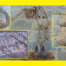 Antigüedades: ORIGINALES Y ANTIGUOS ESTRIBOS DE CUERO DE LOS GAUCHOS ARGENTINOS CON CORREAJES (UN TRABAJO MAGNIFIC. Lote 98650955