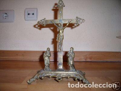 CRUCIFIXIÓN DE BRONCE NEOGÓTICA (Antigüedades - Religiosas - Artículos Religiosos para Liturgias Antiguas)
