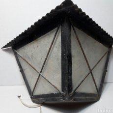 Antigüedades: FAROL ANTIGUO DE FORJA Y CRISTAL AÑOS 80. Lote 98665643