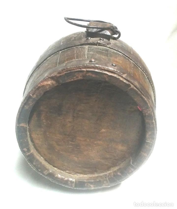 Antigüedades: Tonel barrica pastor años 40, de roble, completa todo de origen 2 litros. Med. 20 x 15 cm - Foto 4 - 98674667