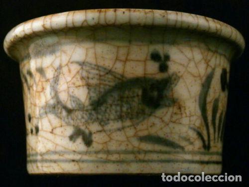 Antigüedades: Cuenco de porcelana China. Siglo 18 , DINASTIA MING, Firmado, Peces - Foto 4 - 98784523