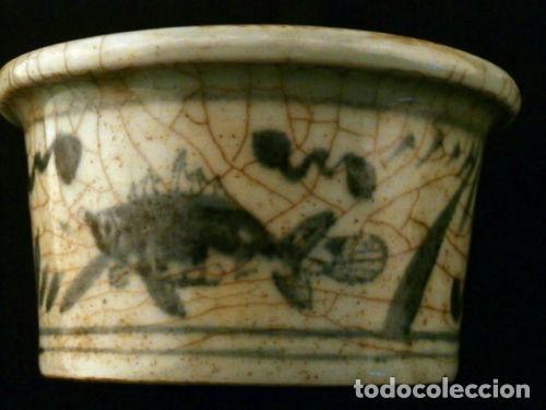 Antigüedades: Cuenco de porcelana China. Siglo 18 , DINASTIA MING, Firmado, Peces - Foto 6 - 98784523
