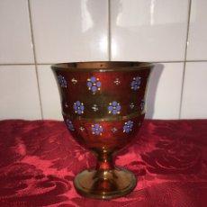 Antigüedades: BONITA COPA DE BRISTOL REFLEJO DORADO. Lote 98784768