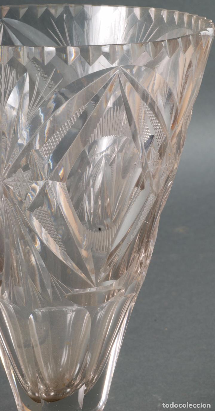 Antigüedades: Jarrón centro de mesa cristal tallado tipo Baccarat años 60 - Foto 2 - 98862059
