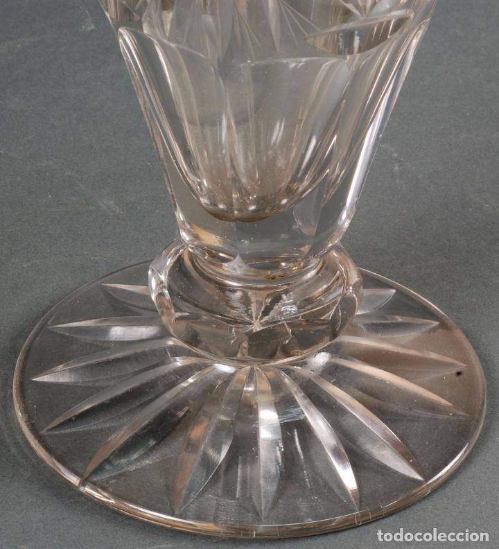 Antigüedades: Jarrón centro de mesa cristal tallado tipo Baccarat años 60 - Foto 3 - 98862059