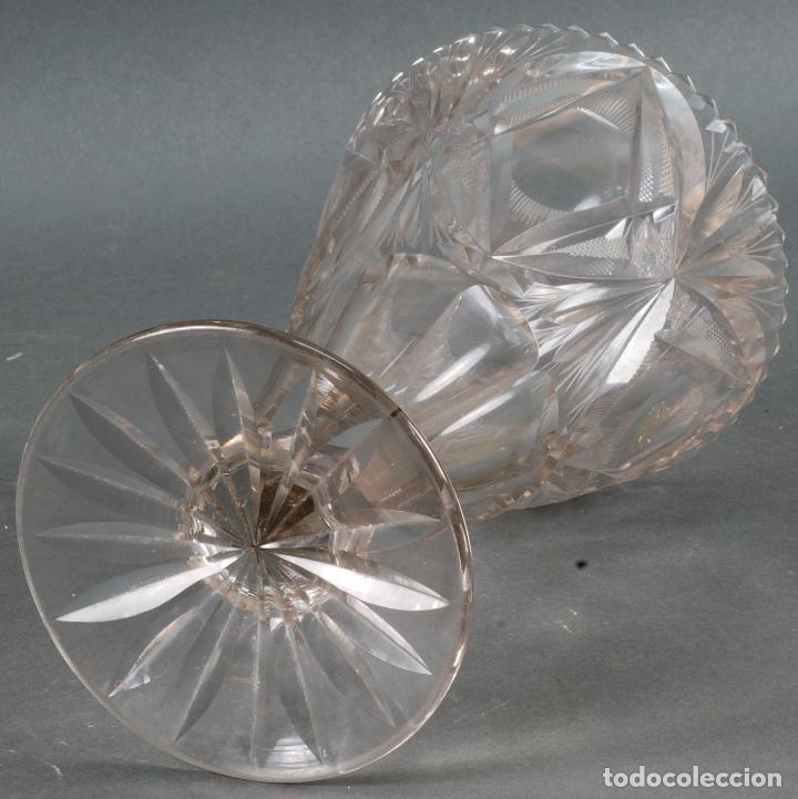 Antigüedades: Jarrón centro de mesa cristal tallado tipo Baccarat años 60 - Foto 4 - 98862059