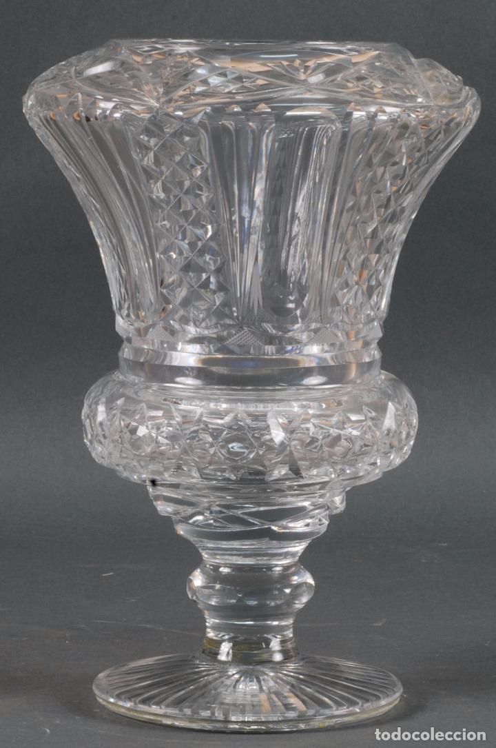 JARRÓN CENTRO DE MESA CRISTAL TALLADO TIPO BACCARAT AÑOS 60 (Antigüedades - Cristal y Vidrio - Baccarat )