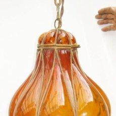 Antigüedades: EXCEPCIONAL LAMPARA ANTIGUA CRISTAL SOPLADO VENECIANA CIRCA 1900 . Lote 98999743