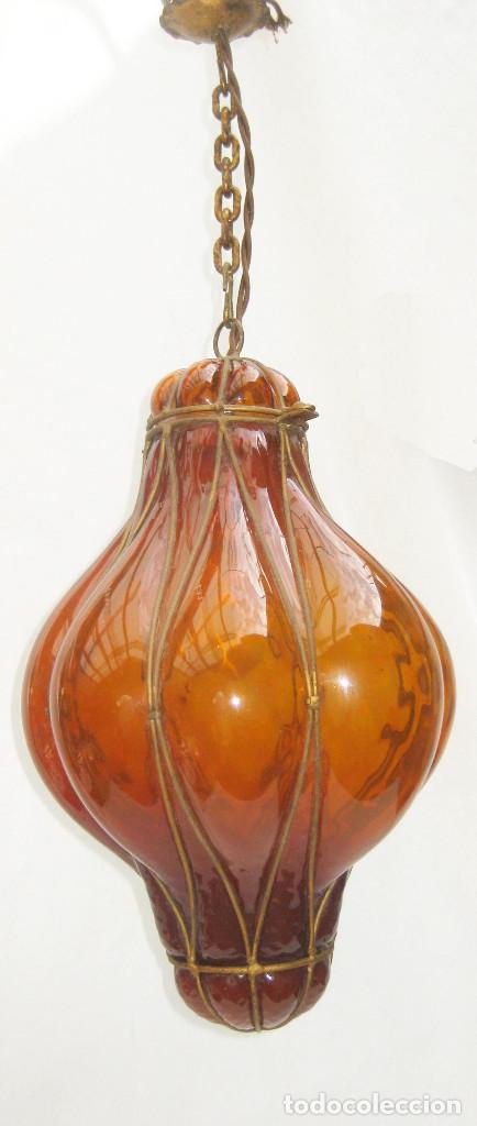 Antigüedades: EXCEPCIONAL LAMPARA ANTIGUA CRISTAL SOPLADO VENECIANA CIRCA 1900 - Foto 2 - 98999743