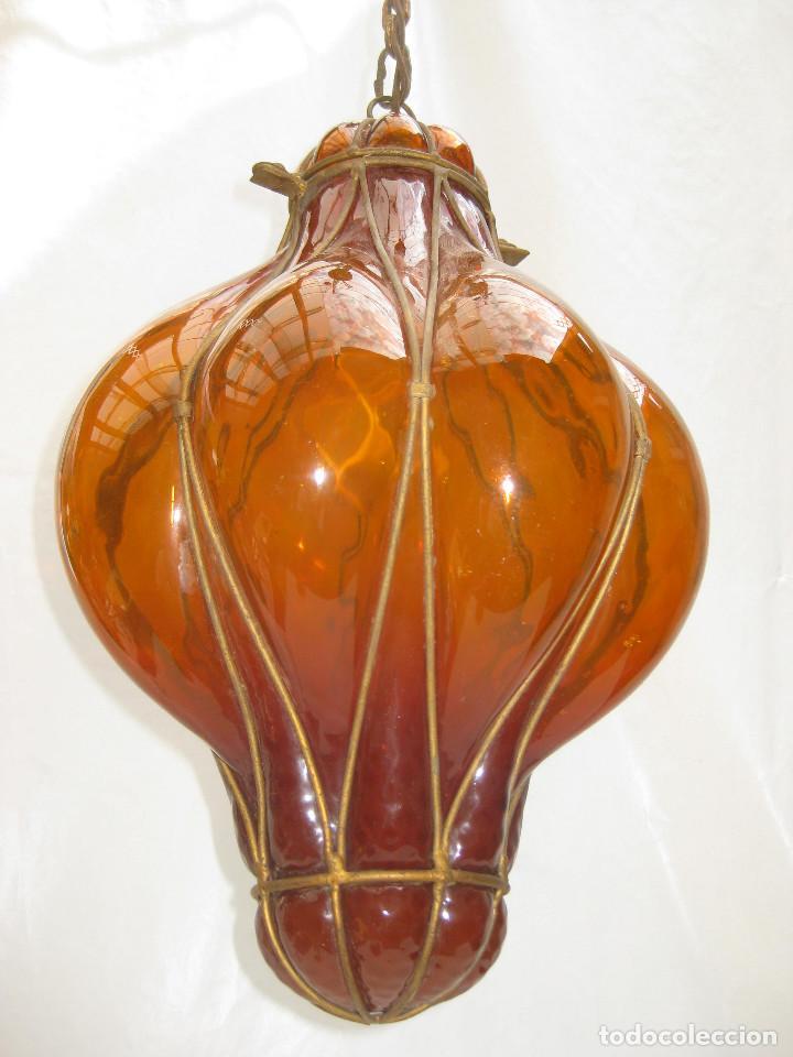 Antigüedades: EXCEPCIONAL LAMPARA ANTIGUA CRISTAL SOPLADO VENECIANA CIRCA 1900 - Foto 5 - 98999743