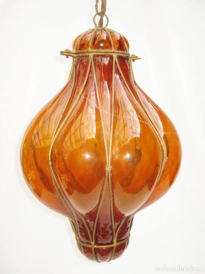 Antigüedades: EXCEPCIONAL LAMPARA ANTIGUA CRISTAL SOPLADO VENECIANA CIRCA 1900 - Foto 6 - 98999743