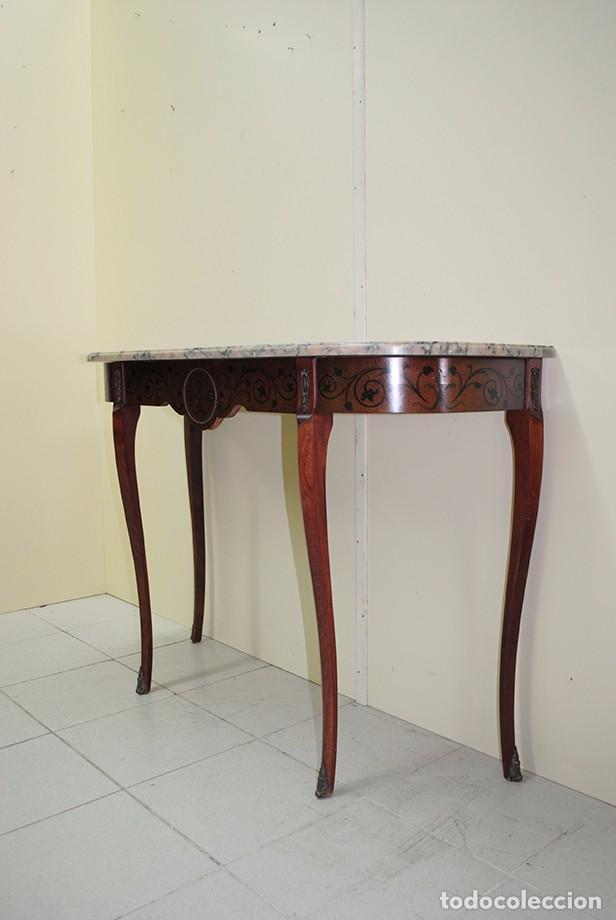 Antigüedades: CONSOLA ANTIGUA DE MADERA Y MARQUETERÍA - Foto 4 - 99018591