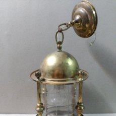 Antigüedades: FAROL DE BRONCE Y LATON. Lote 99085903