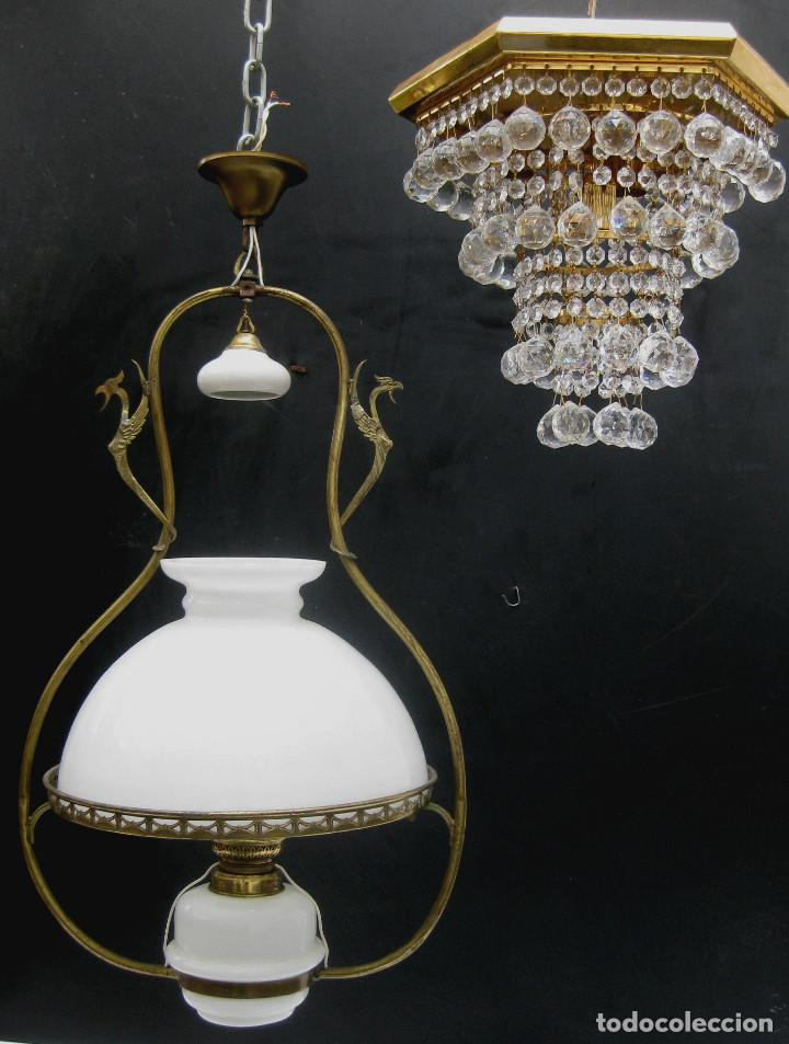 Antigüedades: PRECIOSA RESTAURADA LAMPARA ANTIGUA TIPO QUINQUE CIRCA 1870 FRANCIA LATON Y OPALINA - Foto 4 - 99101527