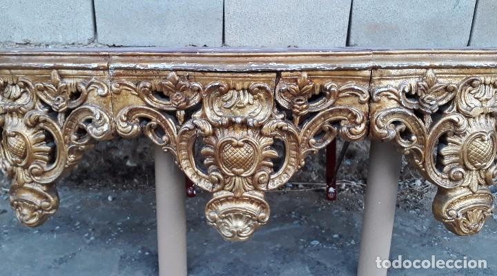 Antigüedades: Consola antigua dorada estilo barroco pan de oro Repisa de iglesia gran ménsula dosel estilo Luis XV - Foto 16 - 99111407