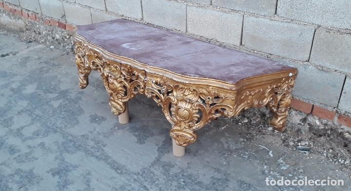 Antigüedades: Consola antigua dorada estilo barroco pan de oro Repisa de iglesia gran ménsula dosel estilo Luis XV - Foto 18 - 99111407
