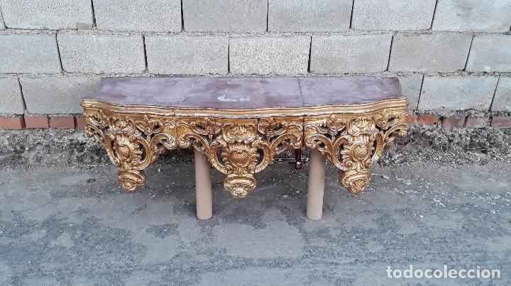 Antigüedades: Consola antigua dorada estilo barroco pan de oro Repisa de iglesia gran ménsula dosel estilo Luis XV - Foto 20 - 99111407