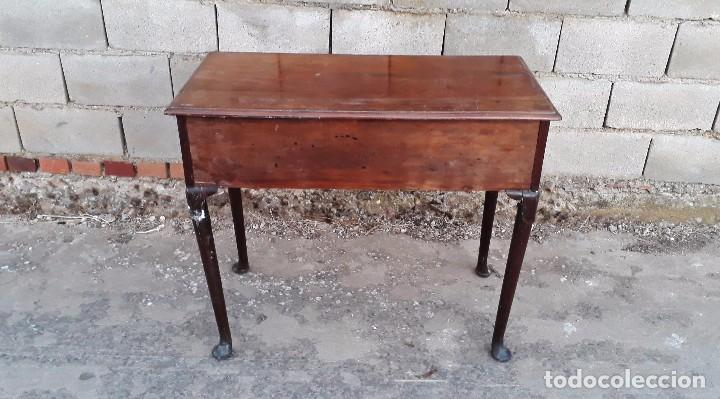 Antigüedades: Mesa antigua estilo chippendale. Pequeño escritorio antiguo estilo inglés victoriano. - Foto 9 - 99111511