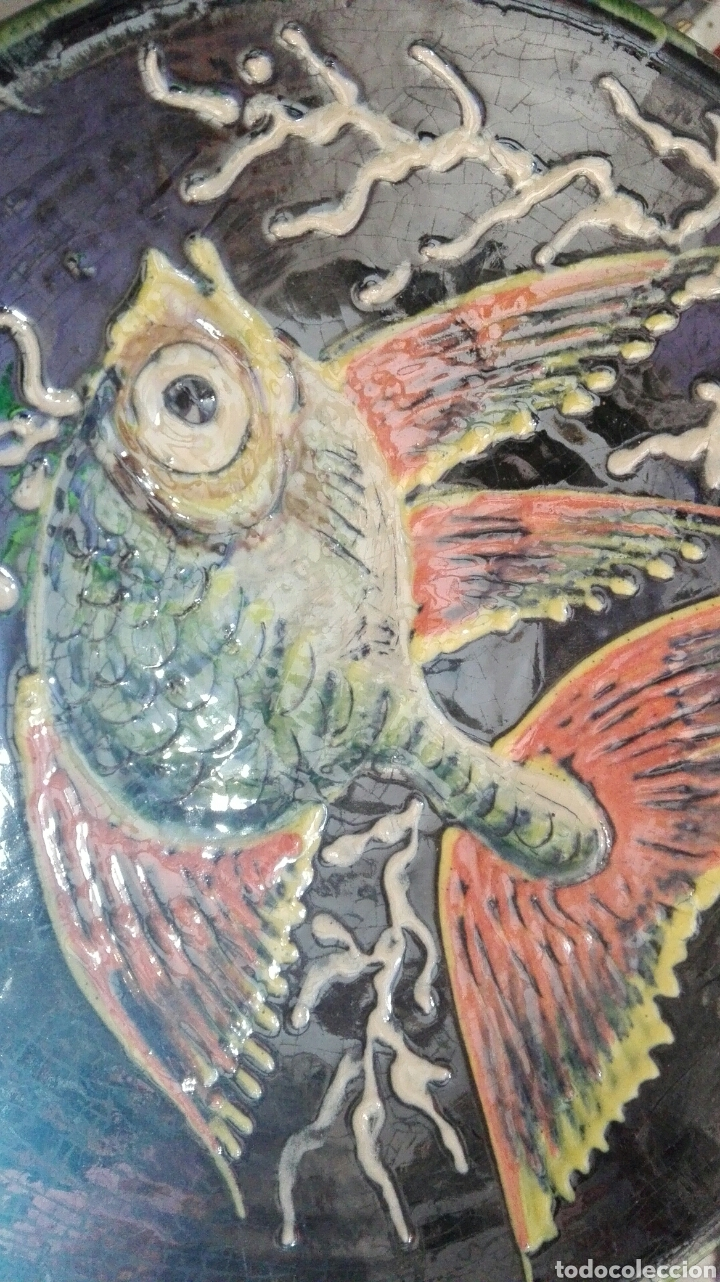 Antigüedades: Plato pez firmado puigdemont 24,5cm - Foto 2 - 99145086
