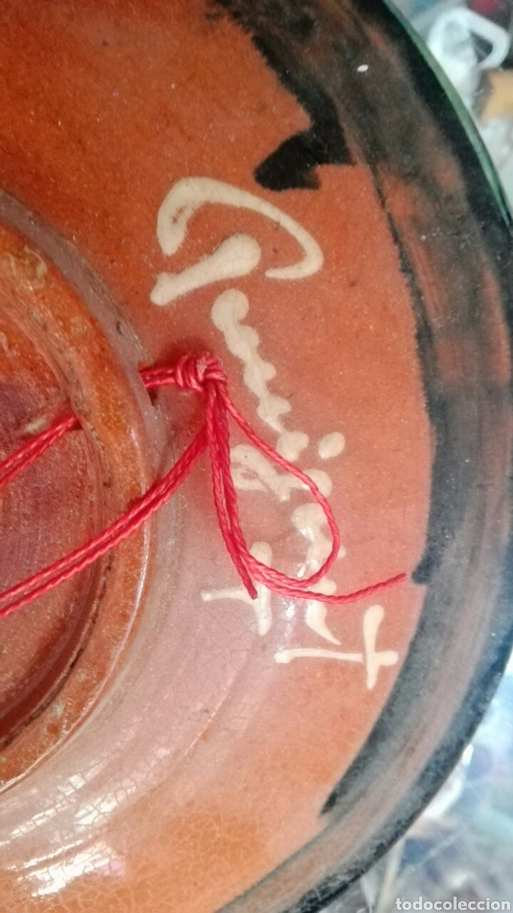 Antigüedades: Plato pez firmado puigdemont 24,5cm - Foto 4 - 99145086
