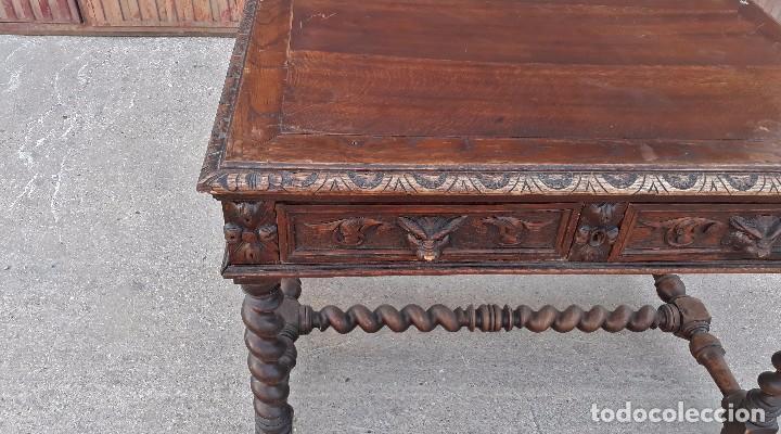 Antigüedades: Escritorio antiguo salomónico mesa de despacho antigua estilo Luis XIII barroco rústico renacimiento - Foto 8 - 99186131