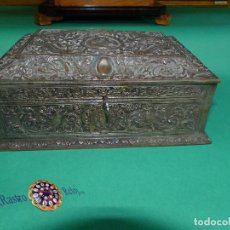 Antigüedades: ,,,JOYERO LABRADO BRONCE BAÑO DE PLATA,,,23 X 16 X 11 CM.,,,. Lote 99192459