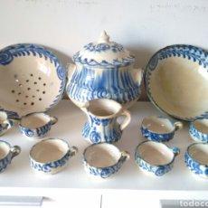 Antigüedades: CERAMICA SOPERA LECHERA TAZA NIJAR VIDRIADA AZUL SOBRE BLANCO ANTIGUO. Lote 99220139
