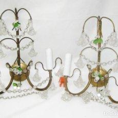 Antigüedades: ELEGANTISIMA PAREJA DE LAMPARAS ANTIGUAS PARED LATON Y CRISTAL BOHEMIA CIRCA 1920 APLIQUES LAMPARA. Lote 99245319