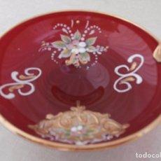 Antigüedades: CENICERO ROJO DE CRISTAL DE MURANO. Lote 99261435
