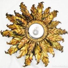 Antigüedades: RESTAURADA, LAMPARA DE TECHO ANTIGUA VINTAGE HIERRO FORJA TIPO SOL . Lote 99269191
