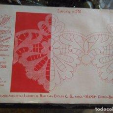 Antigüedades: LAMINA ENCAJE ENCAJES DE BOLILLO O RED - EL CONSULTOR DE BORDADOS AÑOS 20 VER MAS. Lote 99281607