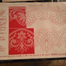 Antigüedades: LAMINA ENCAJE ENCAJES DE BOLILLO O RED - EL CONSULTOR DE BORDADOS AÑOS 20 VER MAS. Lote 99281703