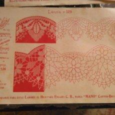 Antigüedades: LAMINA ENCAJE ENCAJES DE BOLILLO O RED - EL CONSULTOR DE BORDADOS AÑOS 20 VER MAS. Lote 99281735