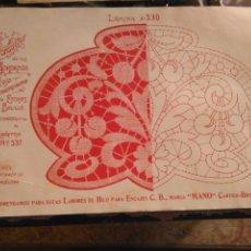 Antigüedades: LAMINA ENCAJE ENCAJES DE BOLILLO O RED - EL CONSULTOR DE BORDADOS AÑOS 20 VER MAS. Lote 99281747