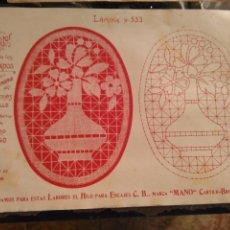 Antigüedades: LAMINA ENCAJE ENCAJES DE BOLILLO O RED - EL CONSULTOR DE BORDADOS AÑOS 20 VER MAS. Lote 99281775