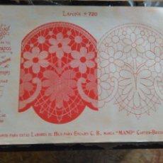 Antigüedades: LAMINA ENCAJE ENCAJES DE BOLILLO O RED - EL CONSULTOR DE BORDADOS AÑOS 20 VER MAS. Lote 99282063