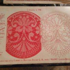 Antigüedades: LAMINA ENCAJE ENCAJES DE BOLILLO O RED - EL CONSULTOR DE BORDADOS AÑOS 20 VER MAS. Lote 99282067