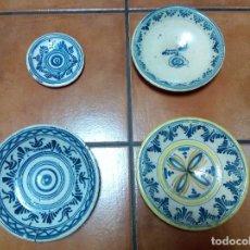 Antigüedades: CONJUNTO DE 3 PLATOS DE PUENTE DEL ARZOBISPO FINALES XVIII - PPIOS XIX.. Lote 99318035