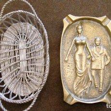 Antigüedades: ANTIGUA CESTITA DE METAL COLOR PLATA DE 15 CMS. CENICERO NO SE VENDE. Lote 99332679