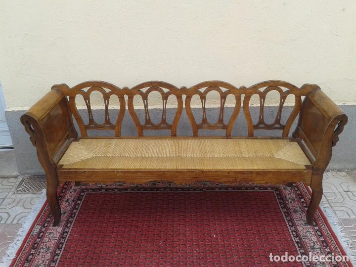 Banco antiguo de enea 4 plazas sof banco ant comprar - Bancos de madera rusticos ...