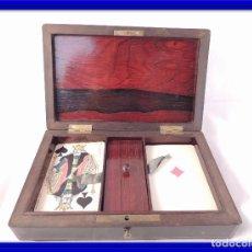 Antigüedades: CAJA ESTUCHE DE CARTAS O NAIPES DE PALISANDRO ANTIGUA. Lote 99363439