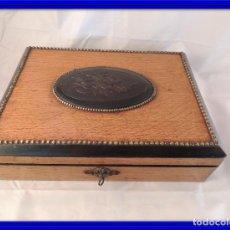 Antigüedades: CAJA ANTIGUA DE MADERA DE ROBLE CON COMPARTIMENTOS. Lote 99363659