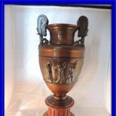 Antigüedades: MAGNIFICA COPA DE BRONCE BARBEDIENNE SOBRE MARMOL S. XIX. Lote 99363827