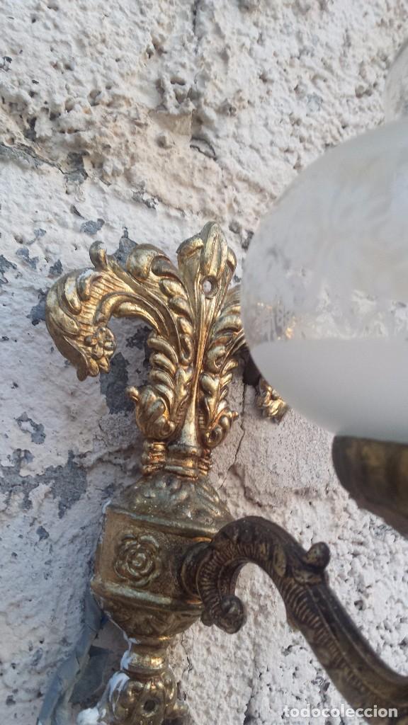 Antigüedades: antiguo aplique de pared metalico, - Foto 4 - 99385111