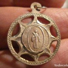 Antigüedades: RARA MEDALLA EN PLATA DE SAN MUS MUST - RUBI BARCELONA - SIGLO XIX . Lote 99404391